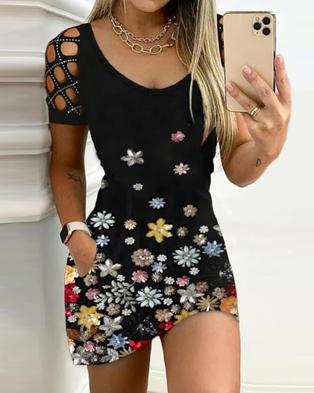 Cutout Studded Floral Print Bodycon Dress