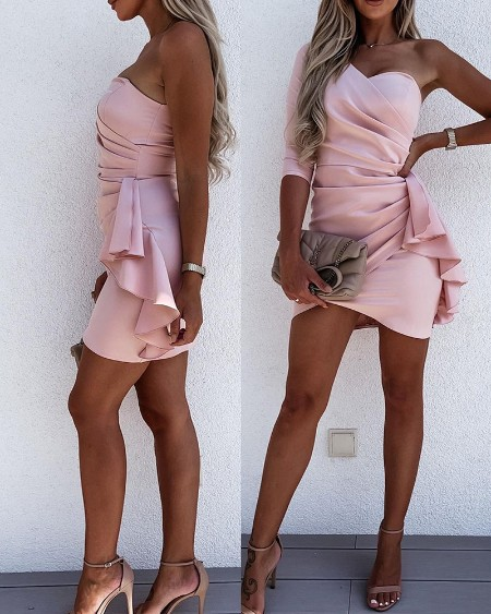 One Shoulder Ruffles Ruched Bodycon Dress