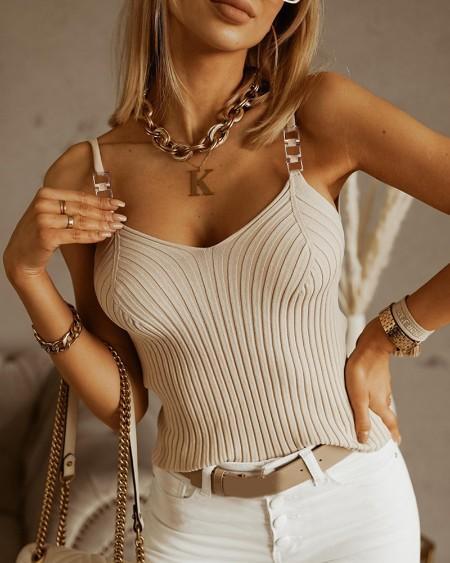 Chain Decor V-Neck Knit Top