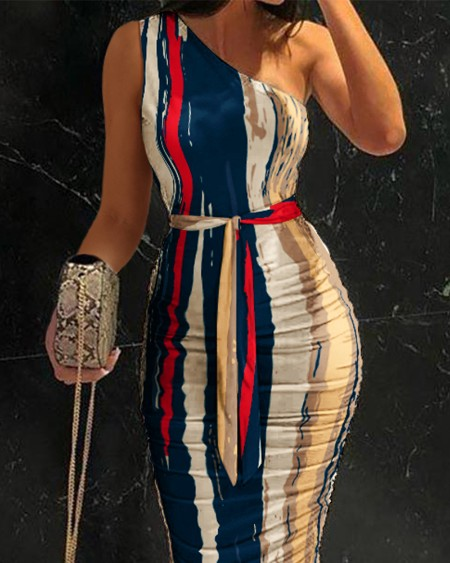 One Shoulder Ruched Tie Front Bodycon Dress