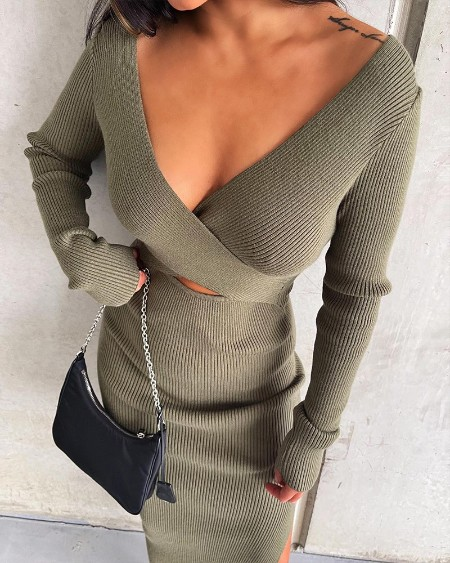 Solid Wrap V-Neck Split Sweater Dress