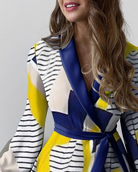 Tied Detail Striped Print Colorblock Work Dress