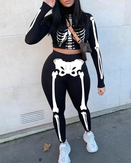 Skeleton Print Crop Top & High Waist Pants Set