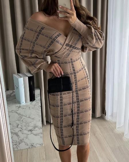 V Neck Lantern Sleeve Striped Print Dress