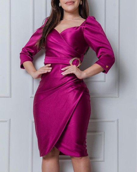 Satin Puff Sleeve Buckled Ruched Party Dress