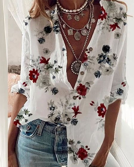 Floral Print Long Sleeve Button Front Shirt