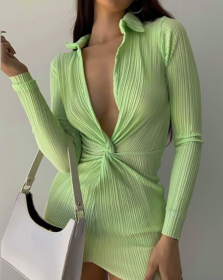 Long Sleeve Ruched Twisted Bodycon Dress