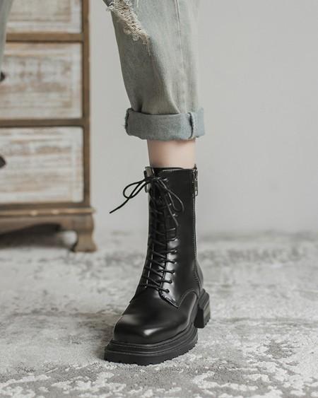 Square-toe Solid Color Lace-up Biker Boots