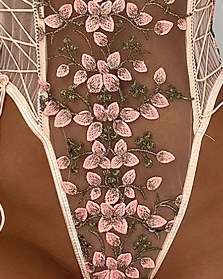 Floral Embroidery Lace-up Sheer Mesh Teddy
