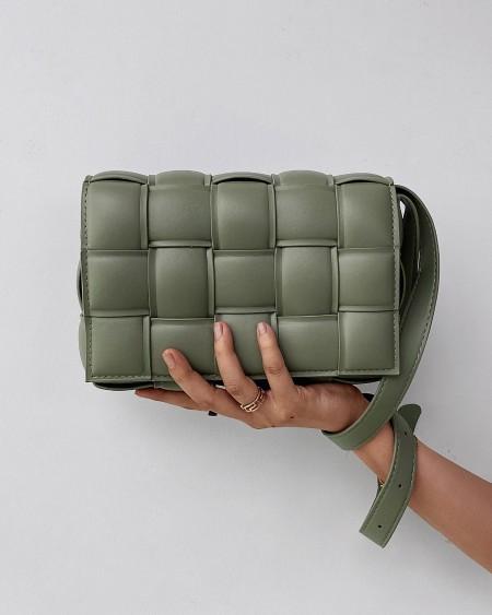 Weave Metal Decor Flap Crossbody Bag