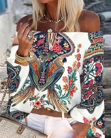 Floral Print Off Shoulder Lace Up Top