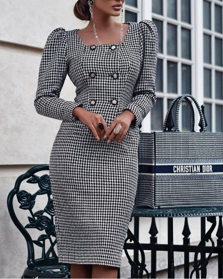Houndstooth Puff Sleeve Double Breasted Tweed Dress