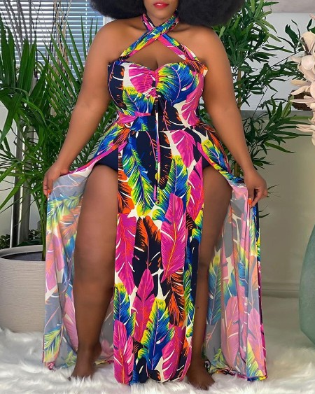 Plus Size Halter Feather Print High Slit Maxi Dress