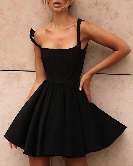 Square Neck Sleeveless Little Black Dress
