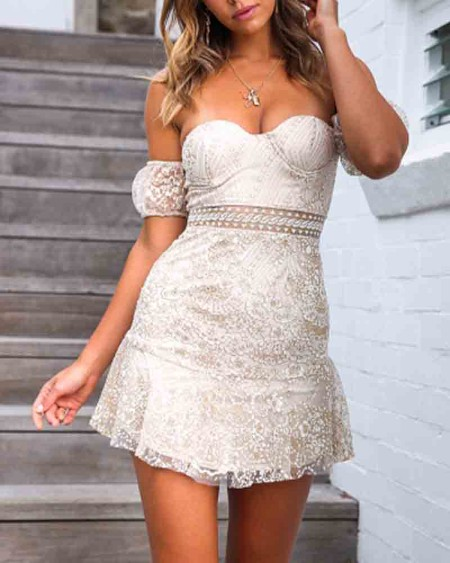 Solid Lace Cut-out Slim Bodycon Mini Dress