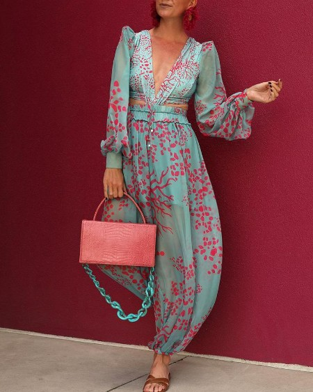All Over Print Plunge Jumpsuit