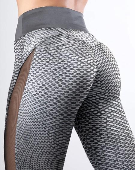 High Waist Shark Scales Side Mesh Patchwork Yoga Pants Tummy Control Butt Lift Slimming Booty Leggings