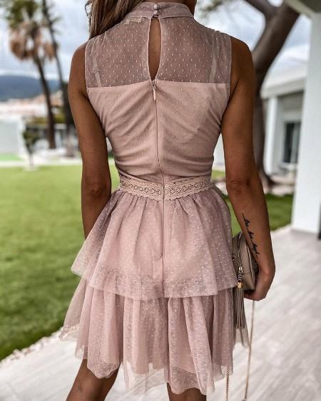 Guipure Lace Dot Mesh Bowknot Decor Dress