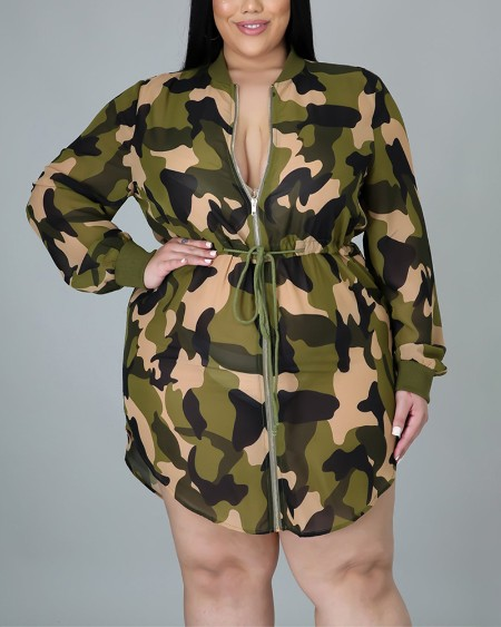 Plus Size Camouflage Print Long Sleeve Drawstring Zip Up Casual Dress