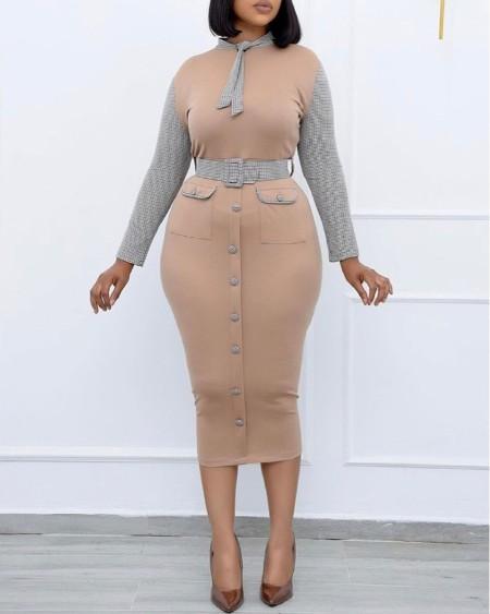 Plus Size Plaid Print Colorblock Buttoned Work Dress
