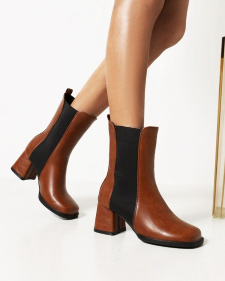 Womens Vintage Square Toe High Heel Chelsea Boots