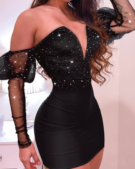 Glitter V-Cut Contrast Mesh Gigot Sleeve Bodycon Dress