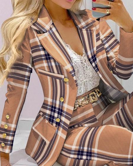 Two Piece Sets Plaid Print Lapel Collar Double Breasted Blazer & Tailored Pants Set Elegant Work Suit Set