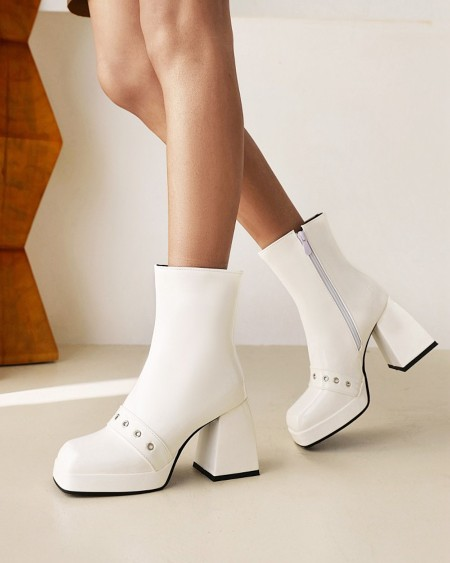 Womens Strap Decoration Square Toe Shiny Finish High Heel Boots