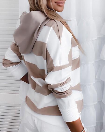 Striped Print Colorblock Rhinestone Hooded Sweatshirt