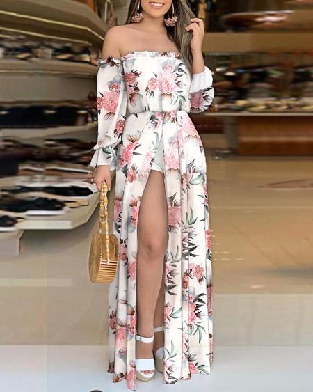 Butterfly Print Off Shoulder High Slit Dress