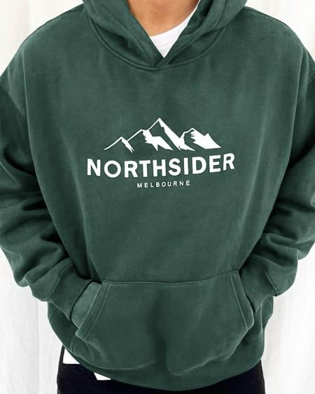 Letter & Mountain Print Long Sleeve Hooded Sweatshirt