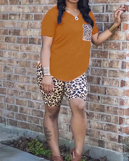Leopard Print V-neck Top & Shorts Sets