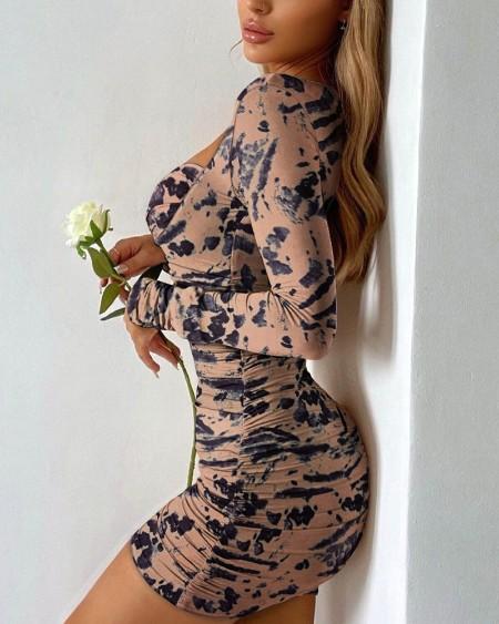 Animal Print Sweetheart Neck Ruched Mini Dress