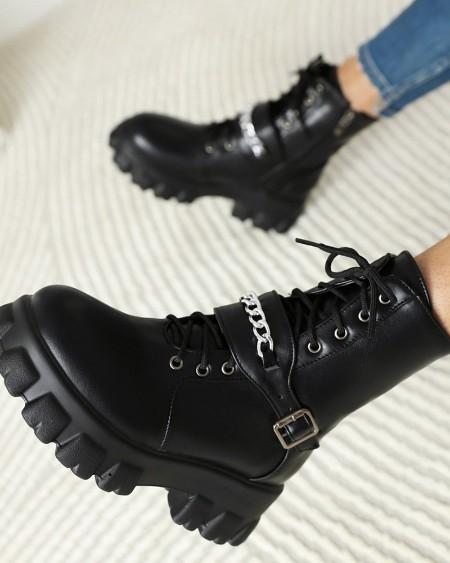 Round Toe Strappy  PU leather Flat Platform