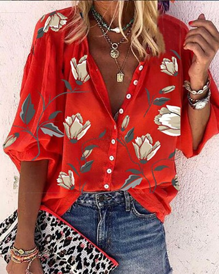 Floral Print Button Front Lantern Sleeve Shirt