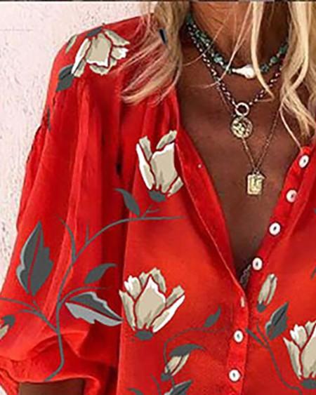Floral Print Button Front Lantern Sleeve Shirt