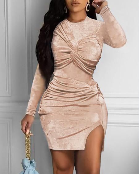 Velvet Twisted Slit Long Sleeve Bodycon Dress