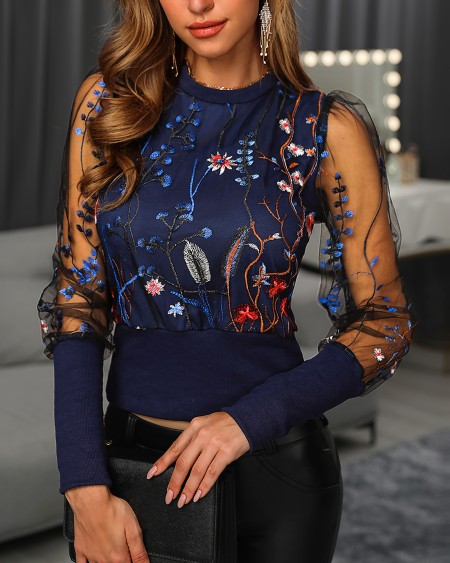 Floral Embroidery Print Sheer Mesh Blouse