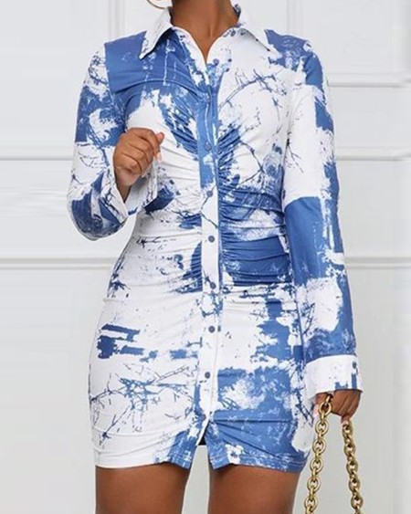 Tie Dye Print Button Front Shirt Dress