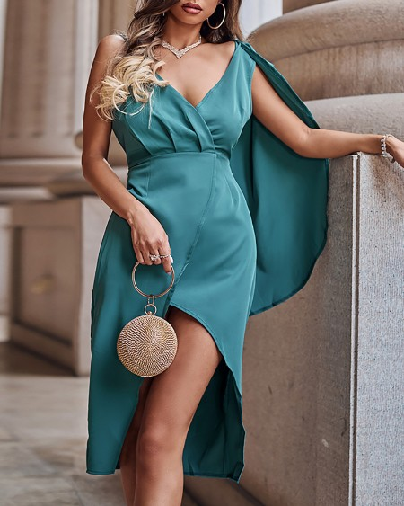 Asymmetrical Surplice Neck Gathered Waist Cloak Sleeve Wrap Split Thigh Party Dress