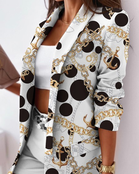 Chain Print Shawl Collar Open Front Flap Detail Blazer