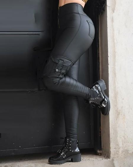 PU Leather Pocket Design High Waist Skinny Cargo Pants Plain Skinny Pants