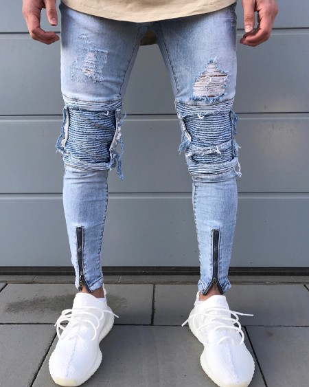 Patchwork Skinny Ripped Pleated Denim Pants