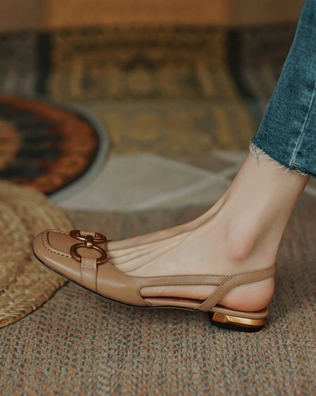 Buckle Upper Solid Sqaure-toe Flat Slip-on