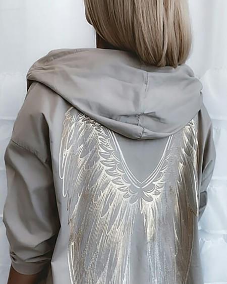 Wing Print Long Sleeve Hooded Coat