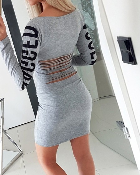 Letter Print Ripped Back Bodycon Dress
