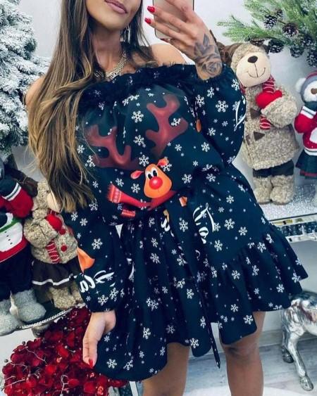 Christmas Sheer Mesh Deer Snowflake Print Off Shoulder Casual Dress