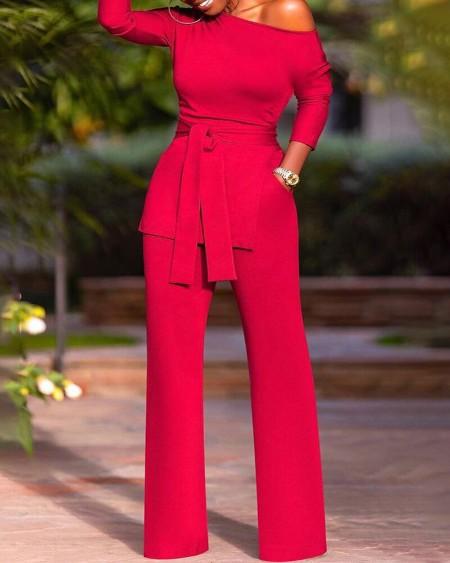 Plus Size Tie Front Pocket Skinny Jumpsuit