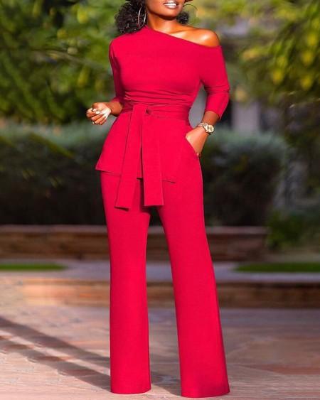 Plus Size Long Sleeve Split Hem Top & Pants Set