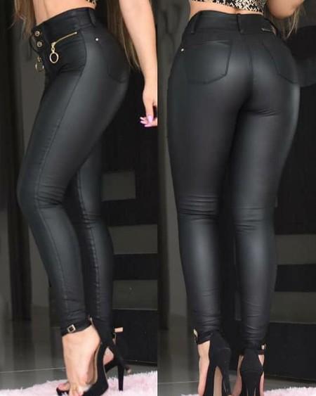 PU Zipper Detail Button Skinny Pants